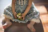 Young girl, sitting on floor, playing with toy, low section - ISF12875