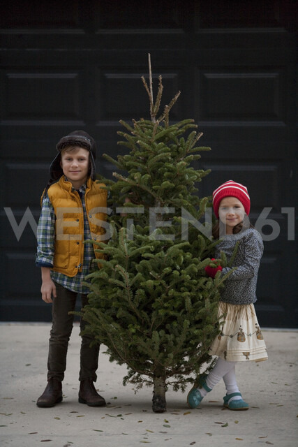 Girl and boy holding christmas tree - ISF12905