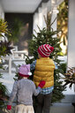 Girl and boy carrying christmas tree - ISF12908