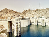 View of dam wall and water towers at Hoover Dam, Nevada, USA - ISF13028