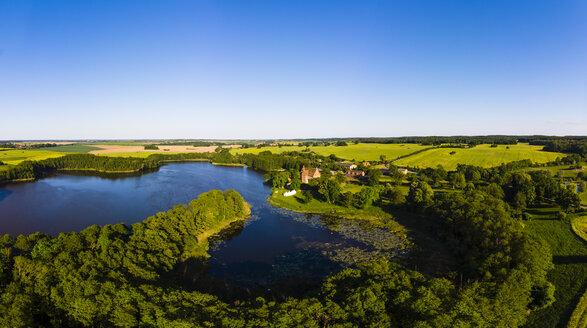 Germany, Mecklenburg-Western Pomerania, Mecklenburg Lake District, Schwinkendorf, Aerial view of Ulrichshuser See and Ulrichshusen Castle - AMF05749