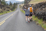Young couple hiking along road, trying to thumb lift, rear view - ISF13195
