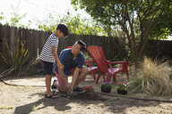 Father and son planting in garden - ISF13240
