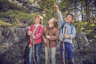 Three children in forest, standing together, looking up - ISF13744