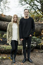 Portrait of young happy couple in woods - CUF33165