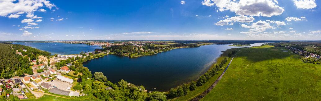 Germany, Mecklenburg-Western Pomerani, Mecklenburg Lake District, Waren an der Mueritz, Aerial view with Mueritz, Koelpinsse and Feisnecksee - AMF05753
