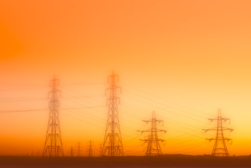 United Kingdom, Scotland, Alloa, Electricity Pylons, power lines, conceptual apocalyptic - SMAF01028