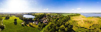Germany, Mecklenburg-Western Pomerania, Mecklenburg Lake District, Mecklenburgische Schweiz, Aerial view of  Schorssow Castle, Haussee, Lake Malchin - AMF05769