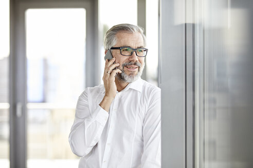 Smiling businessman talking on cell phone at the window - RBF06339
