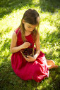Portrait of little girl wearing red summer dress sitting on a meadow with basket of cherries - LVF07142