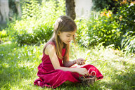 Portrait of little girl wearing red summer dress sitting on a meadow with basket of cherries - LVF07145