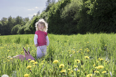 Little girl with origami rabbit on meadow - PSTF00164