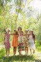 Portrait of five girls in garden - CUF35324