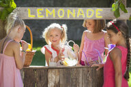 Candid portrait of four girls at lemonade stand in park - CUF35330