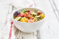 Couscous with grilled vegetables, aubergine, zucchini, paprika, tomato, red onion, rosemary and basil - LVF07148