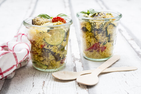 Couscous with grilled vegetables, aubergine, zucchini, paprika, tomato, red onion, rosemary and basil - LVF07151
