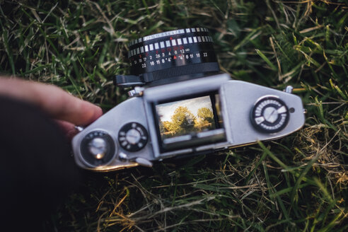 Analogue camera lying on grass - JSCF00113