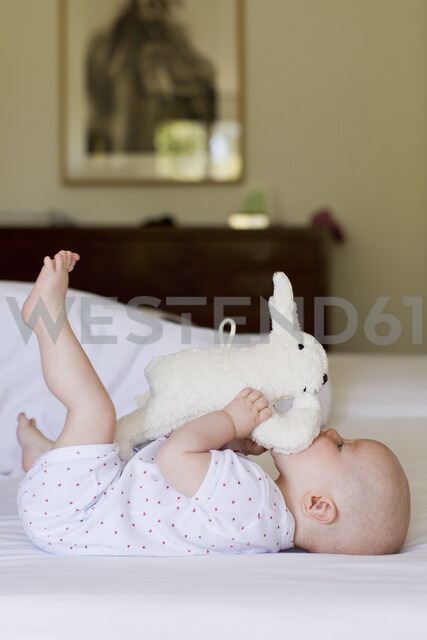Baby girl playing with soft toy - CUF36756 - Christine Schneider/Westend61