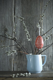 Hand-painted Easter egg hanging from Pussy Willow twigs - ASF06197