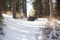 Boy and young adults sledging in snowy forest - ISF14575