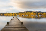 United Kingdom, England, Cumbria, Lake District, Windermere lake boardwalk, view at sunrise - WPEF00552