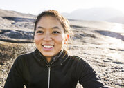 Portrait of young female hiker, Squamish, British Columbia, Canada - ISF14998