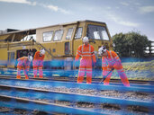Railway maintenance workers on railway track - CUF37976