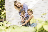 Mid adult woman and two daughters watering plants in garden - CUF38048