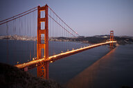 Scenic view of Golden Gate Bridge at dusk, San Francisco, California, USA - ISF15223