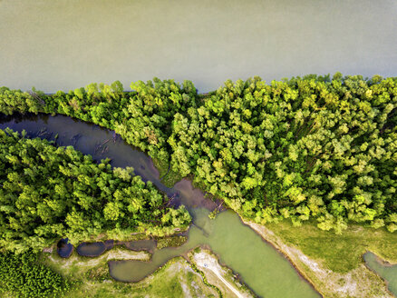 Germany, Bavaria, Passau, Aerial view of Danube river - JUNF01056