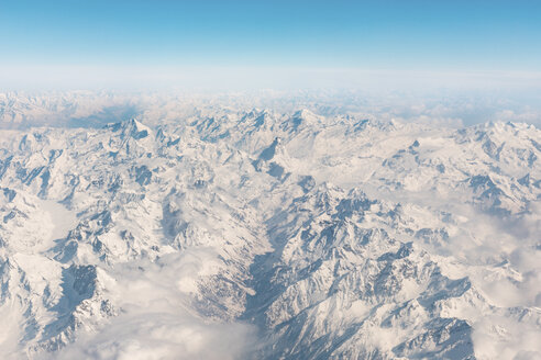 Italy, Aosta, Aerial view of Matterhorn peak and Alps - WPEF00560