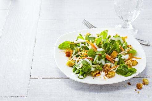 Autumnal salad with lamb's lettuce, carrots, slaw, croutons and walnuts - KSWF01922