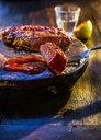 Medium rare beefsteak with barbecue sauce - KSWF01931