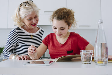 Mother helping teenage daughter with homework - CUF38387