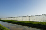 Angled view of canal and row of greenhouses - CUF38447