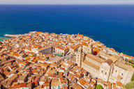View of coast and town of Cefalu, Sicily, Italy - CUF38486