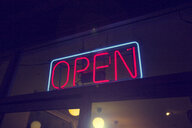 Open neon sign, Los Angeles, California, USA - ISF15549