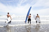 Male and female surfer friends standing in sea with surf boards - ISF15645