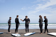 Group of male and female surfer friends chatting on beach - ISF15648