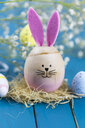 Painted Easter egg with rabbit ears - JUNF01072