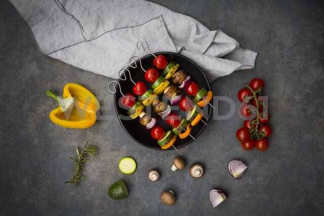 Vegetarian grill skewers on bowl and ingredients - LVF07188