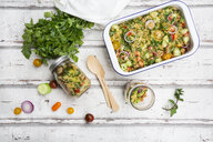Couscous salad with tomatoes, cucumber, parsley and mint - LVF07206
