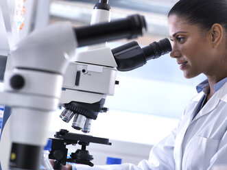 Biotechnology Research, female scientist examining a specimen under a microscope in the laboratory - ABRF00165