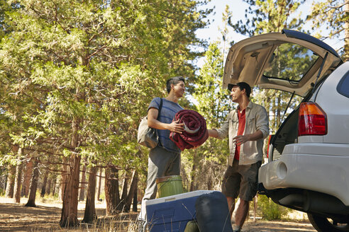 Two young male campers unpacking car boot in forest, Los Angeles, California, USA - ISF15990