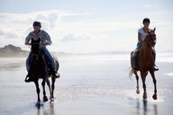Horse riders galloping, Pakiri Beach, Auckland, New Zealand - ISF16044