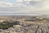 Greece, Attica, Athens, View from Mount Lycabettus over city with Acropolis - MAMF00150