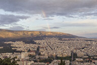 Greece, Attica, Athens, View from Mount Lycabettus over city, rainbow - MAMF00153