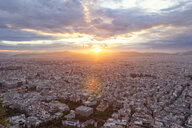 Greece, Attica, Athens, View from Mount Lycabettus over city at sunset - MAMF00156