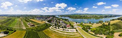 Germany, Rhineland-Palatinate, Aerial view of Heidesheim am Rhein, Rhine river, Eltville and Erbach - AMF05797