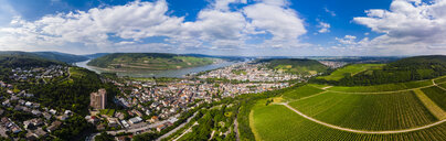 Germany, Rhineland-Palatinate, Aerial view of Weiler am Rhein, Nahe river and Bingen am Rhein - AMF05812